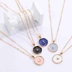 Enamel Oil Drop Gold Pendant Symbol Necklace